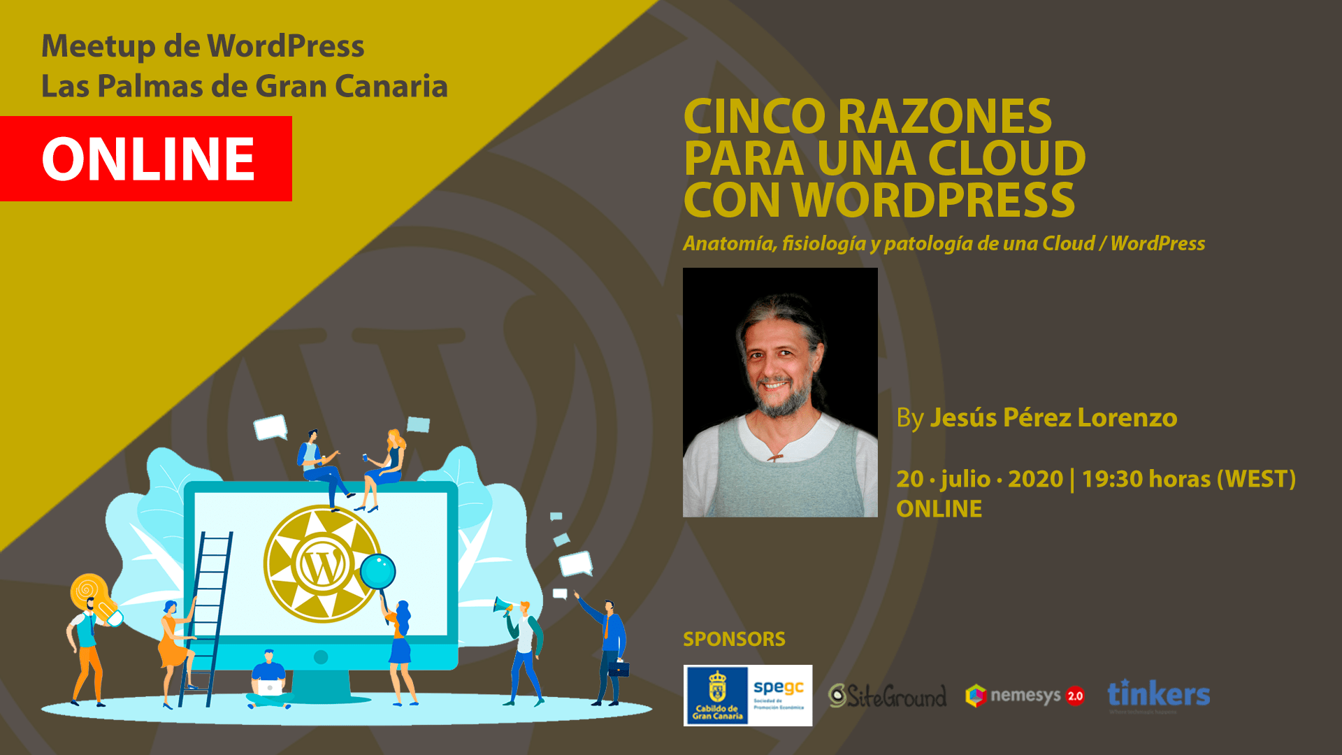 Cartela Meetup Jesús Pérez Lorenzo sobre cloud con WordPress