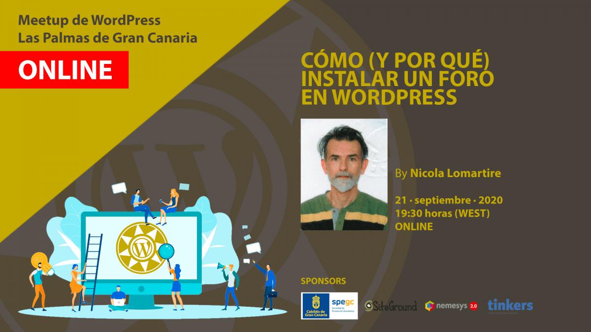 Cartela Meetup Nicola Lomartire sobre foros en WordPress
