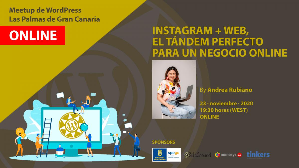 Cartela Meetup Andrea Rubiano sobre Instagram y web
