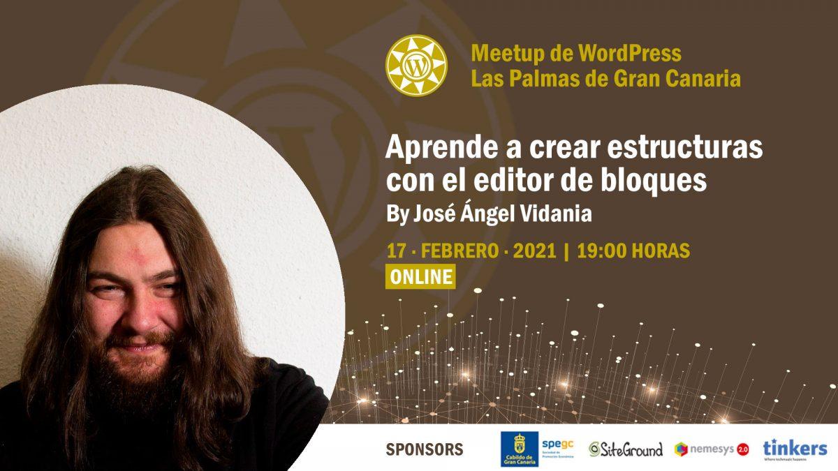 Cartela Meetup José Ángel Vidania sobre el editor de bloques